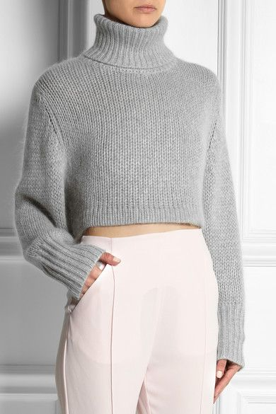 Cropped Jumper Knitting Pattern : Dion Lee Cropped knitted turtleneck sweater - Grey Knitwear Pinterest G...