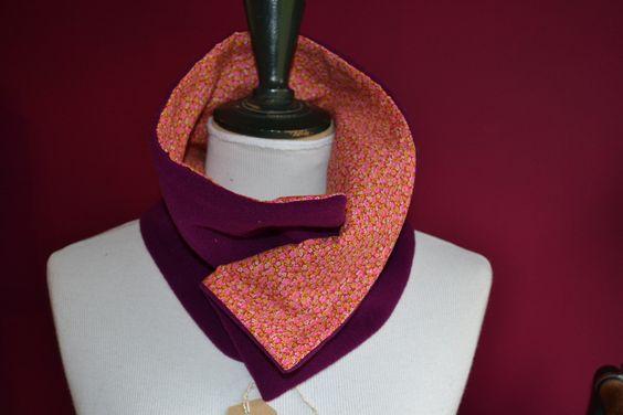 Col, en laine fushia, doublé en coton : Echarpe, foulard, cravate par purplely