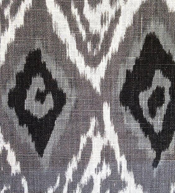 Grey Linen Ikat Fabric by the Yard - Modern Black White Ikat ...
