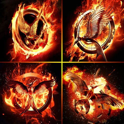 The Hunger Games series movie logos Catching Fire and Mockingjay