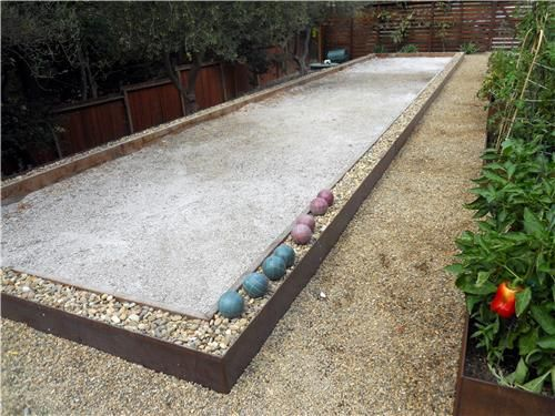backyard bocce ball courts | ... bocce court is made of redwood steel and gravel this bocce court has a
