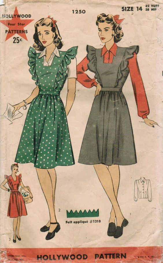 1940s Hollywood Dress Pattern. The pinafore frock with shirt underneath was popular during WWII. It allowed women to still look pretty while remaining practical with their clothing.: