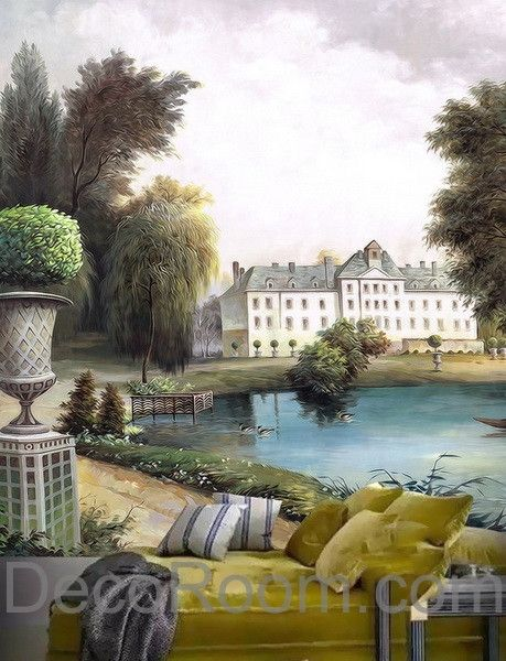 Lake Wall Art 3d vintage castle painting lake wall paper wallpaper wall decals