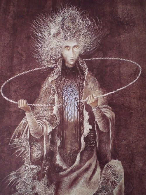 """The Nocnitsa, or """"Night Hag"""", in Polish mythology, is a nightmare spirit that also goes by the name Krisky or Plaksy. The Nocnitsa is also present in Russian, Serbian and Slovakian folklore. She is known to torment children at night, and mothers in some regions will place a knife in their children's cradles or draw a circle around the cradles with a knife for protection. This is possibly based on the belief that supernatural beings cannot touch iron:"""