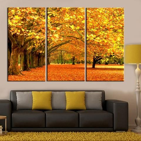 3 Pieces Autumn Fall Maple Leaf Wall Art Canvas Painting Landscape