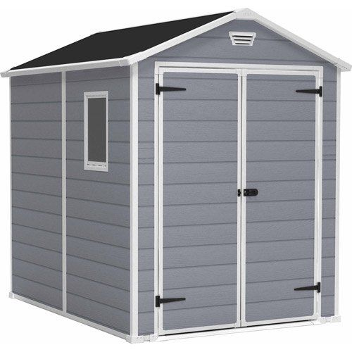 Keter Manor 4 X 6 Resin Storage Shed All Weather Plastic Outdoor Storage Gray White Walmart Com In 2020 Outdoor Storage Sheds Storage Shed Kits Garden Storage Shed