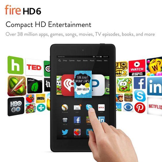 "Fire HD 6, 6"" HD Display, Wi-Fi, 8 GB - Includes Special Offers, Black – See more at: http://www.amazon.com/dp/B00KC6I06S/ref=as_li_ss_tl?ie=UTF8&linkCode=sl1&tag=freeadvert003-20&linkId=8482600449173b01354b7017b1711e1e"
