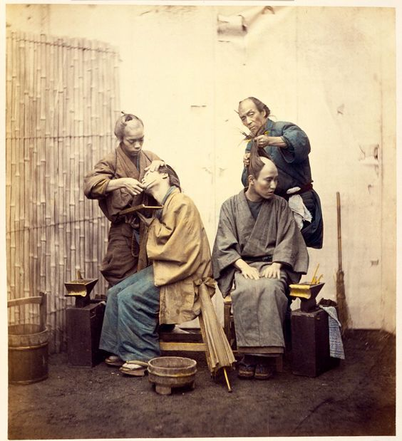 Barbers.Japanese, Edo period, 1860s.Photographer Felice Beato, Italian, 1834–1907.