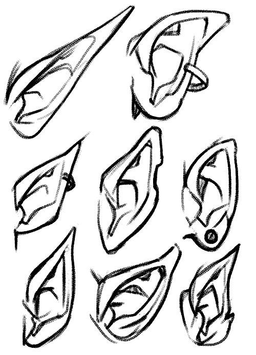 Desenhos, Mangá, Anime, Orelhas, 8 Designs, Para Melhorar O Seu Desenho.