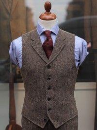 Bladen Brown Donegal Tweed Waistcoat