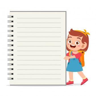 Plantilla De Cuaderno Feliz Nina Nino Lindo Vector Premium Caratula Para Ninos Ninos Dibujos Animados Fondos Para Ninos