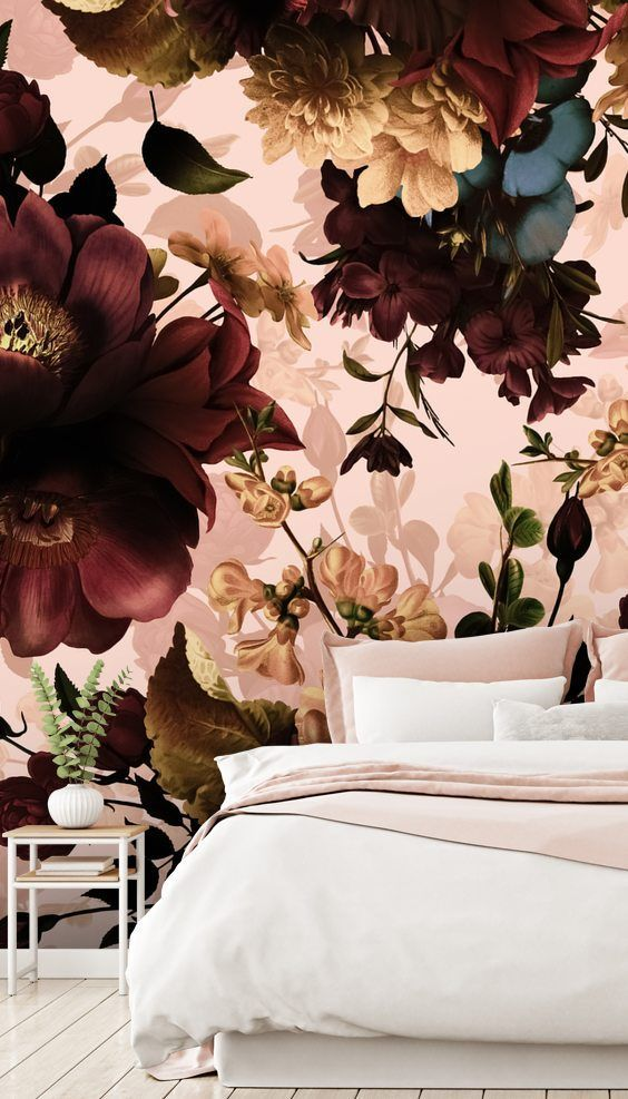 Gothic Bouquets Dark Floral Wallpaper For Your Master Bedroom Floral Wallpaper Bedroom Burgundy Bedroom Wallpaper Bedroom Flower bedroom wallpaper images