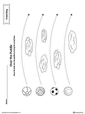 Balls Curved Line Tracing Prewriting Worksheet | Motors, Writing ...