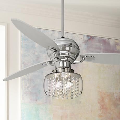 "60"" spyder chrome ceiling fan with chrome crystal light kit"