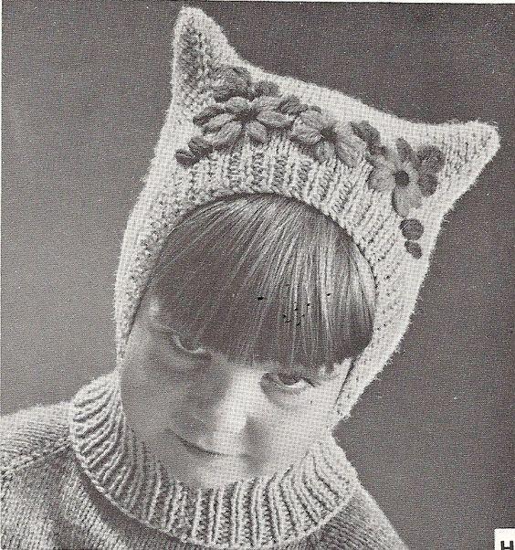 Balaclava Knitting Pattern Child : Vintage Pussy Cat Child Hat, Balaclava Pattern, PDF pattern Knitwear, Cats ...