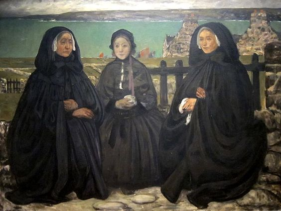 English: Mourning, Brittany, oil on canvas painting by Charles Cottet, late 19th century - early 20th century, Cincinnati Art Museum
