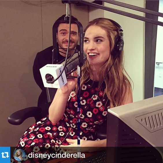 #Repost @disneycinderella with ・・・@lilyjamesofficial and @maddenrichard at @siriusxm in NYC this morning.  Thanks for having us! #dior #photobomb