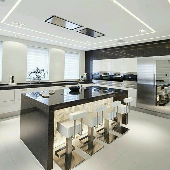Expectacular dise o de cocina en isla que marca la - Iluminacion muebles cocina ...