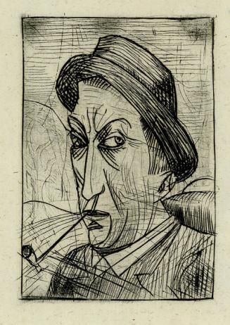 André Derain,  Self-Portrait with a Pipe 1913 Etching