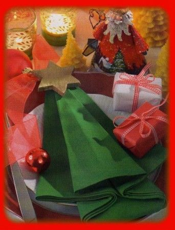 Pliage serviettes noel christmas decorations pinterest for Pliage deco noel