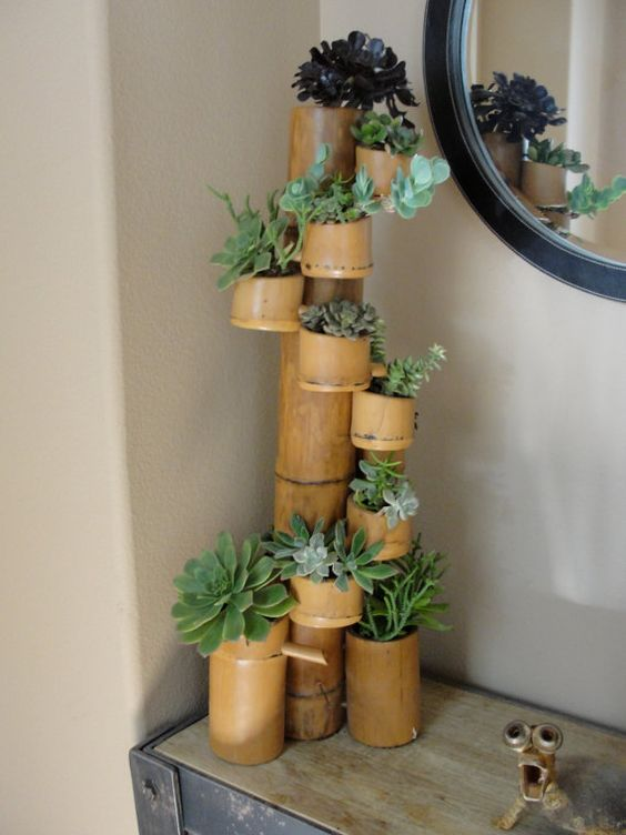 Bamboo succulent fountain with twelve cups filled with a for Crafts using bamboo
