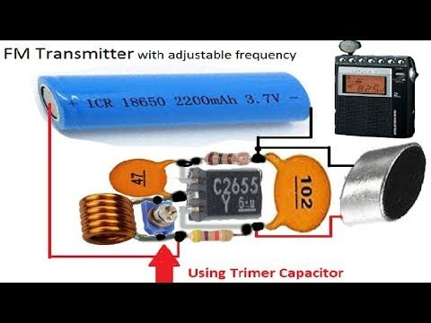 Fm Tansmitter With Adjustable Frequency Using A Trimmer Capacitor Youtube Electronic Circuit Design Netflix Gift Card Capacitor