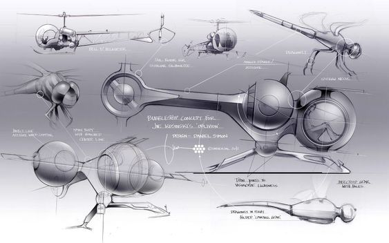 HOLLYWOOD FILES: Please share. 2073 Oblivion Bubbleship. Design Joe Kosinski / Daniel Simon. I started the first concepts back in 2009 for director Joe Kosinski, who's appreciation for design is amazing. Little did I know that it would turn into my most complex development challenge, all the way into 2012 with a fully accessible full-size built, infused with first-hand pilot expertise by actor Tom Cruise. Production designer: Darren Gilford Art director: Kevin Ishioka © Universal