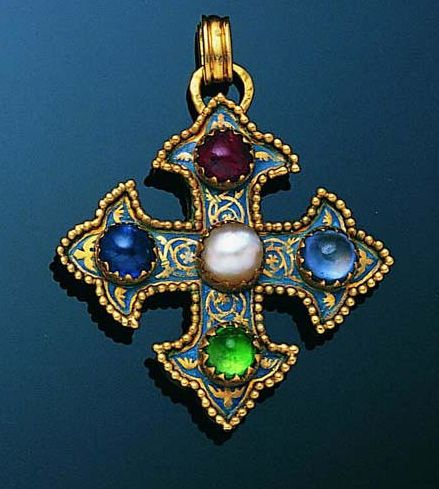 An early 20th century gem-set cross pendant