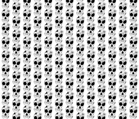 B_W_sugar_skull_flora fabric by jennagerie3 on Spoonflower - custom fabric