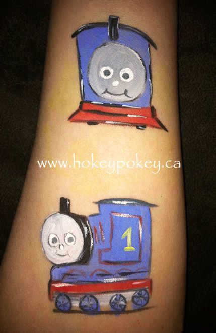 Thomas the Train face paint picture