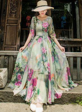 Dresses | Maxi Dresses | Trendy Short Sleeve Floral Printed Chiffon Maxi Dress