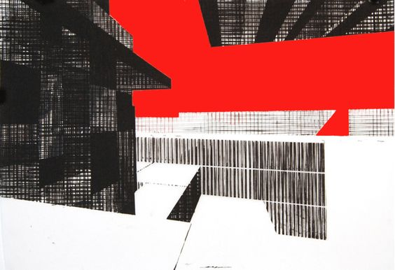 """Building 6, screenprint with handpainting on mylar by Ryan Parker, 18 x 26"""""""