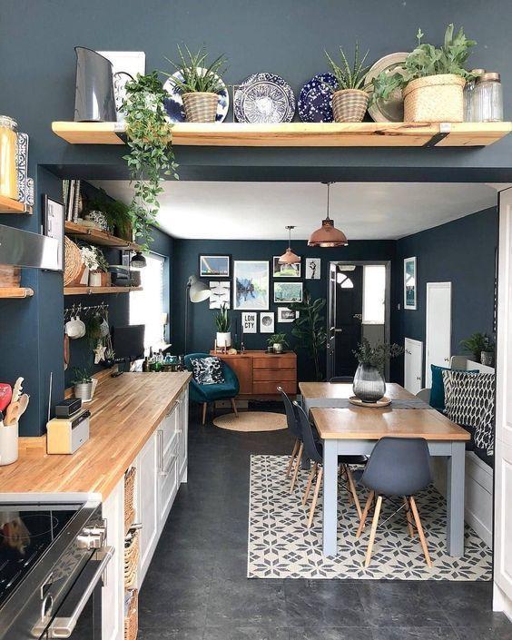 These Navy Walls Color Navywalls Indigoblue Bohostyle Bohemian Interiors Interiordesign Home Decor Kitchen Home Decor Kitchen Interior #navy #walls #living #room