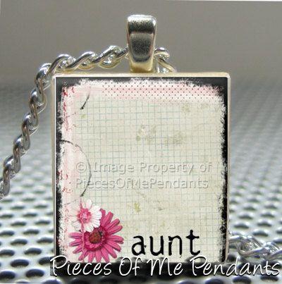 Pendant Pretty Words AUNT  Necklace
