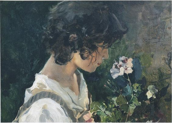 Italian Girl with Flowers, Joaquin Sorolla y Bastida