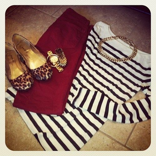 Leopard and maroon and stripes! Perfect for a causal fall day. You can pair a button down under the sweater for more layers. Love the colors and prints