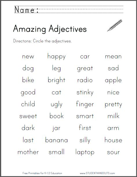 Awesome Adjectives List- For Kids Grades 2, 3, 4