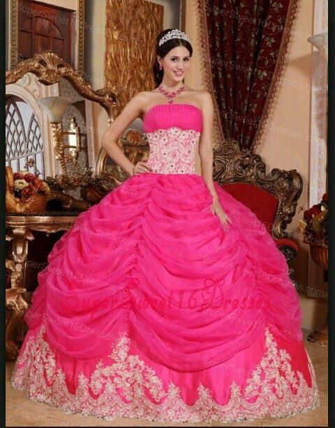 beautiful big pink fluffy quinceanera or sweet 16 dress with a ...