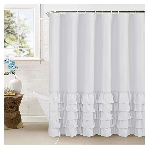 Westweir Smocking Ruffle Shower Curtain With Hooks For Ba Https