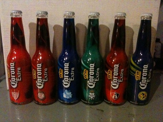 Limited Edition Corona Extra Beer Soccer 2012.  Necaxa, Toluca, Puebla, Santos, Atlas & America. Back View.