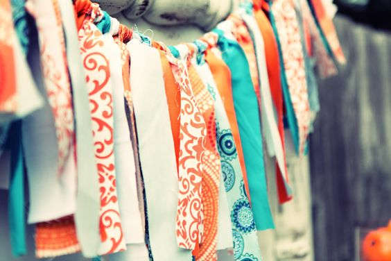 turquoise and orange fabric strip banner, yum!