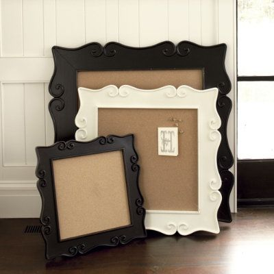 Framed corkboards! I have one similar to these and love the way it looks on the wall