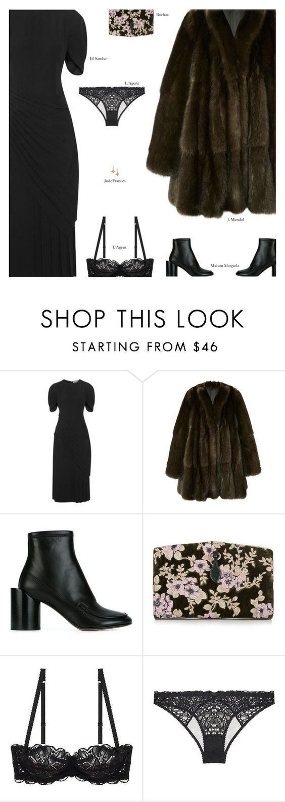 """""""Untitled #4014"""" by amberelb ❤ liked on Polyvore featuring Jil Sander, J. Mendel, Maison Margiela, Rochas, L'Agent By Agent Provocateur and JudeFrances"""