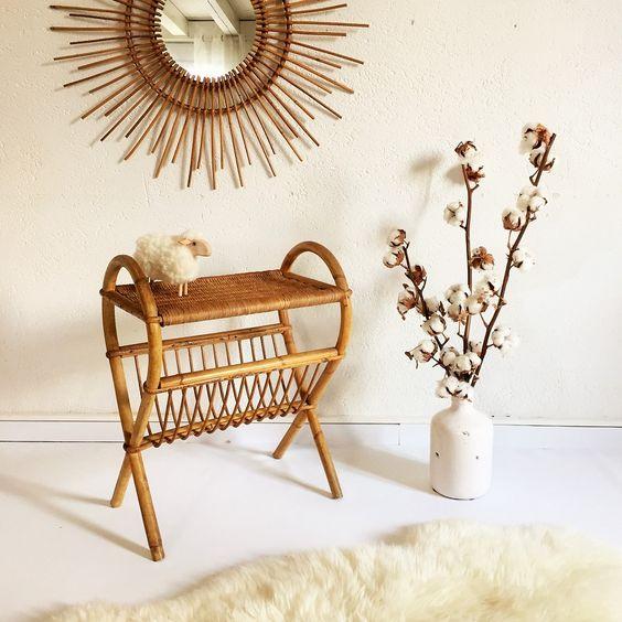 chevet porte revue rotin vintage chouette fabrique la. Black Bedroom Furniture Sets. Home Design Ideas