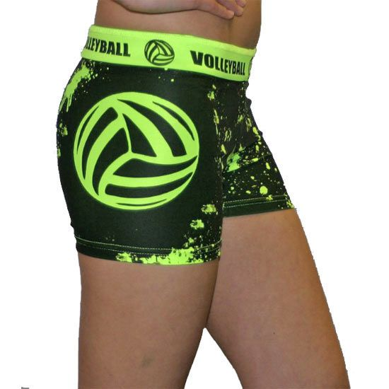 Svforza Splat Neon Green Spandex Volleyball Short