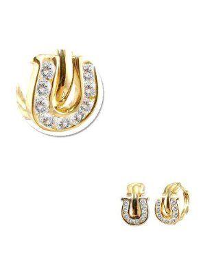 14k Yellow Gold, Good Luck Horseshoe Mini Hoop Stud Earring Lab Created Gems http://womensjewelrynews.blogspot.com/2013/11/14k-gold-diamond-jewelry-news.html #14k_Gold #14k_White_Gold #Necklaces #Pendants #jewelry #accessories #Ring #Wedding