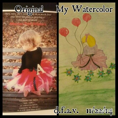 Alaynna in watercolor.   Left image her 1st birthday party invitation.   Right image my portrait of her in watercolor for her 2nd birthday present.  Artist credit:  d.f.a.v.  All rights reserved.