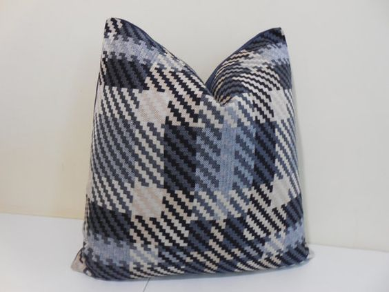 Denim outdoor / indoor pillow cover in plaid pattern. Pinnacle Famous Maker Solution Dyed Acrylic. The back is make from plain denim sunbrella