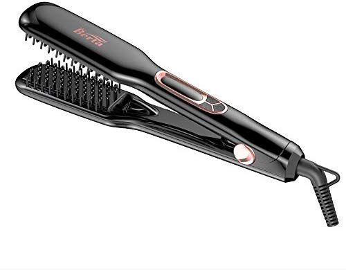 Berta Hair Straightener Brush Professional Negative Ions Flat Iron Ceramic Hair Iron Comb For Natural Ceramic Hair Hair Brush Straightener Straightening Brush