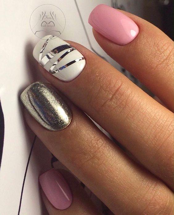 Вечерний дизайн ногтей, Вечерний маникюр шеллаком, Красивый маникюр 2017, Красивый разноцветный маникюр, Маникюр белый с серебром, Маникюр для молодых мам, Маникюр с наклейками, Маникюр с полосками